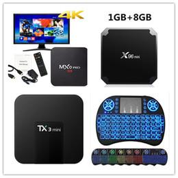 Mxq iptv tv box online-MXQ Pro 4k Smart-TV-Box RK3229 Allwinner H3 S905W Quad-Core-Tastatur für Android 7.1 IPTV TX3 Mini X96 Mini MX3 i8