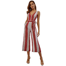 striped jumpsuits Coupons - Women's Sexy Red Striped Sling Jumpsuits V neck Casual Playsuits Summer Lady Party Sleeveless Backless Beach Club Lacing Bow
