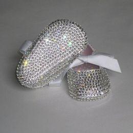 chaussures Promotion Personnalisé Sparkle Bling tétine cristaux de swal strass Chaussures pour bébés bébé ruban 0-1Y princesse satin bella chaussures de ballerine