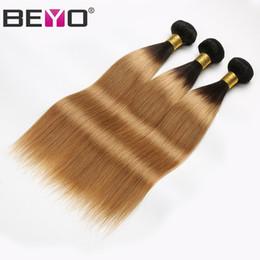 2019 34-дюймовый блондинка индийские волосы 1B 27 Honey Blonde Ombre Bundles Raw Virgin Индийские Прямые Пучки Волос Наращивание Человеческих Волос 3 Bundle Предложения 12-24 Дюймов Реми Бейо дешево 34-дюймовый блондинка индийские волосы