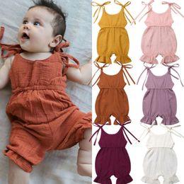 linda niña rosas Rebajas Encantador Baby Vendaje Tirantes Monos Verano 2019 Ropa de boutique para niños Bebés Niños pequeños Body sin mangas de color sólido