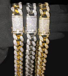 bling chokers Скидка 20мм 16-36inches Heavy Iced Out Циркон Майами кубинского Link ожерелье цепь Choker Bling хип-хоп Золото Серебро Rosegold ювелирных изделий