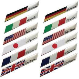 emblèmes italiens Promotion 100pcs / lot France USA Royaume-Uni Emblème Décalques Italie Allemagne Japon Drapeaux Nationaux Autocollants De Voiture