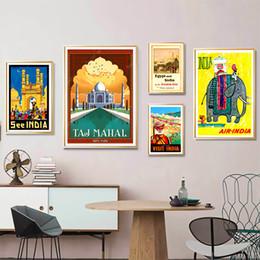 2020 carteles de viajes de época Visita pinturas de Kraft Poster pegatinas de pared del hogar del regalo de la familia de la decoración Classic Travel India Taj Mahal Egipto Mapa retro de lona carteles de viajes de época baratos