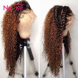 cheveux couleur miel Promotion 1b / 30 perruque perruque perruque perruque perruque perruque perruque de cheveux humains de cheveux bouclés ombrés avant de dentelle Y190713