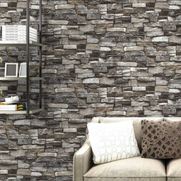 paesaggistica naturale Sconti Rosso, grigio Vintage Rustic Stone Brick Wallpaper Rotolo Soggiorno camera da letto Ristorante Sfondo Loft 3d carta da parati