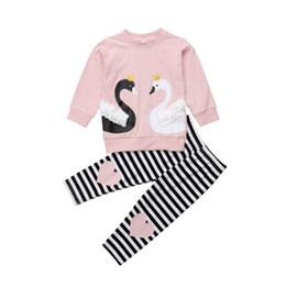 2019 Schöne Kinder Baby Mädchen Frühling Herbst Sweatshirt Kleidung Schwan Druck T shirt Top Schwarz Weiß Gestreifte Leggings Outfit Set NEU