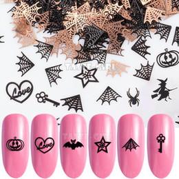 arte de uñas de halloween Rebajas Nail 400PCS / Pack de calabaza de Halloween Bruja Araña de la cara del palo de la estrella Web metálico de las lentejuelas Brone Volver uñas de arte decoración de la rebanada de manicura
