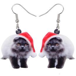 Orecchini lunghi di gatto online-Acrilico Fluffy Cat Natale gattino gioielli grandi orecchini lungamente ciondola animali goccia di modo per le ragazze delle signore delle donne Bambini Bulk