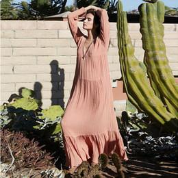 Boho robe d'été femme 2019 Casual manches longues col en V Maxi robes de plage Vintage plissé solide étage longueur robes sexy lâches ? partir de fabricateur