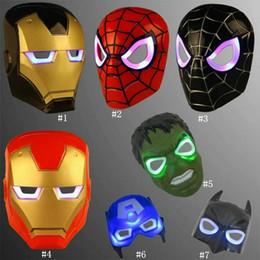2019 maschera completa di spiderman Maschere LED bambini Animazione Cartoon Spiderman Luce maschera mascherata Maschere a pieno facciale costumi di Halloween del partito regalo MMA2580 maschera completa di spiderman economici