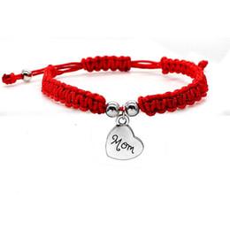 Abençoe pulseira on-line-muito Sorte Bracelet Eu te amo mamã linha vermelha bonita Pulseiras Jewelry For Family presente do dia de mãe da mamã abençoe chiques encanto pulseiras