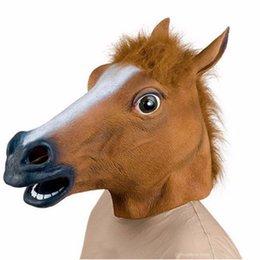 spielzeug pferd kopf Rabatt 3 Arten Pferdekopf-Maske Tierkostüm Spielzeug-Partei Halloween 2019 Neujahr Dekoration April Fools Day Mask