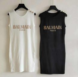 um ombro preto vestido bodycon branco Desconto BAL Mulheres Marca SAme Estilo Vestido De Luxo Designer de Vestido Sem Mangas Kint Womens Designer T Camisas Top Tripulação Pescoço