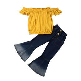 girl jeans top Coupons - New Arrivels Toddler Kid Baby Girl Off Shoulder Tops Denim Flared Pants Jeans Outfit 2-7T