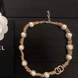 2019 collana di perle per il giorno delle nozze collana di perle naturali di lusso donna Diamante spesso 14k collana in oro Catena Womens Party Wedding San Valentino gioielli di fascini collana di perle per il giorno delle nozze economici