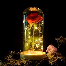 Fiori di vetro artificiale online-Bellezza Eternal Flower Rose In Flask Decorazione fiori artificiali in vetro per i regali di San Valentino