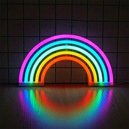 2019 luzes de néon para quartos BRELONG Arco-íris Neon Night Lights Bonitos sinais de néon coloridos para quartos de crianças, quartos, festivais, decorações de parede luzes de néon para quartos barato
