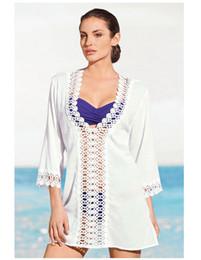 Bikini dantel bluz Ajur dantel derin V Yaka seksi plaj etek Tatil ceket plaj güneş koruyucu giysi nereden