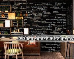 Крытые обои онлайн- Wall stickers personalized letter wallpaper roll 3d bedroom mural home indoor coffee meal wallpaper for walls in rolls