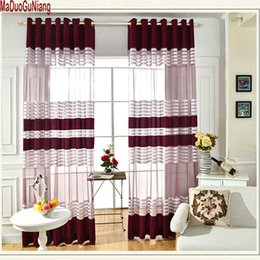 Занавески для кухни онлайн-Decorative Semi Lace Striped sheer Curtain Tulle Voile Panels for Windows Living Room Kitchen Bedroom Rooms Door Curtains