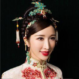jóia chinesa do cabelo do casamento Desconto Lemon Meow Luxuriou Handmade Jóias Cabelo Cloisonne Noiva Cocar de Casamento Do Vintage Chinês Hairwear Acessório de Cabelo Conjunto de Ganchos de cabelo