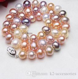 2019 шарики вода Красочные жемчужное ожерелье 9-10 мм 100% натуральный пресноводный жемчуг горячей продажи ожерелье ювелирных изделий для женщин пользуются