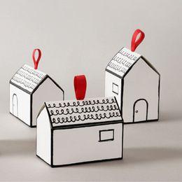 Süßigkeiten sets online-Geschenkschachteln aus Papier 20 Sets Weiß Haus-Form-Geschenk-Paket Kuchen-Süßigkeit-Kasten mit rotem Band-Hochzeit Bevorzugungen und Geschenke Box-Party-Versorgung