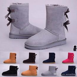botas de mujer de color fucsia Rebajas 2019 Nueva WGG para mujer Australia botas altas de las mujeres CLÁSICAS niña botas para la nieve botas de invierno negro fucsia del rojo azul de los zapatos de cuero