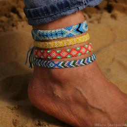 sandali di nozze della spiaggia dell'oro Sconti Bracciali catena Boho a mano corda intrecciata del calzino spiaggia della Boemia del calzino tessuto corda colorata intrecciata caviglia per le donne ragazze gioielli