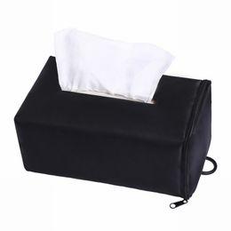 bolsa de tela de tejido Rebajas HEFLASHOR 1 UNID Tissue Box Negro para Home Cars Oxford paño Nuevo tejido extraíble Toalla de papel Holer Caso Bolsa de viaje negro moderno