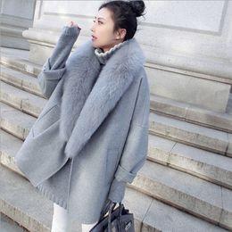 Abrigos de piel de invierno coreano online-Nuevos cachemira abrigo de la mujer rompevientos Corea chaquetas de la capa camisa de la manera ocasionales flojas grande de la piel Costos de otoño e invierno