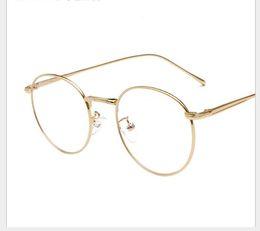 Óculos coreanos on-line-Redondos óculos FRAME versão coreana Chao retro rodada rosto óculos simples homem moldura lente míope open-ball
