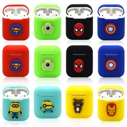 black box wine wholesale Promo Codes - wholesale Cartoon Silicone Case for Apple Airpods Marvel Avenger Spider Captain Iron Soft Thin Protector Cover for Airpod headset Cell Phone