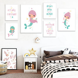Fotos de niña sirena online-Cartoon Mermaid Nursery Wall Art Carteles e impresiones Baby Girl Gift Picture Kid Room Canvas Painting Decoración nórdica para el hogar