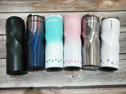 Diamante de chá on-line-Nova Starbucks aço inoxidável copo de diamante Gradiente cor leite chá caneca de café caneca de carro Copo Smoothie