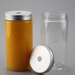 Kunststoffrohre deckel großhandel online-Großhandel 100 stücke 500 ml Kunststoff Getränk Flasche Kunststoffschlauch PET Glas mit Aluminiumdeckel Getränke Tee Flasche Weithals