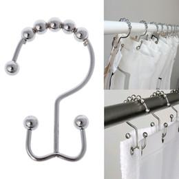 Edelstahl Doppelhaken Poliert Nickel Gleiten Duschvorhang Ringe 12 Teile / satz von Fabrikanten