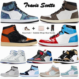 2020 designer shoe box Air Jordan Retro 1 High Travis Scotts Low Designer Herren-Basketball-Schuhe 1s UNC Jumpman Sport-Turnschuhe mit Kasten Sportschuhe Designer Trainers Chaussures Stock x Stockx 36-47 rabatt designer shoe box