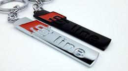 Sportivo emblema metallo online-1 pz Styling Nuovo Metallo Car logo Portachiavi Nero Silvery Emblem Portachiavi Per Audi sline sport portachiavi anello Portachiavi