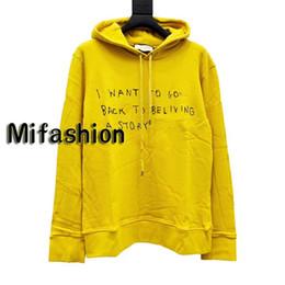Homens amarelos hoodie on-line-19ss Luxo Europa Itália Amarelo Assinatura clássico Hoodie Mulheres Homens moletom com capuz Hoodies Hip hop camisola Men