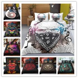 ägyptische baumwollbettwäsche setzt lila Rabatt Schädeldruck Bettwäsche Set Luxus 3D Gedruckt Schwarz Bettbezug Set Heimtextilien Tröster Bettwäsche-Sets Bettwäsche