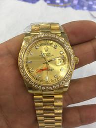 Nueva calidad Día-Fecha Presidente 18k Reloj de oro amarillo con esfera de oro / diamantes Reloj deportivo para hombre de bisel Reloj automático para hombre desde fabricantes