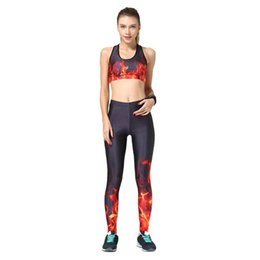 women gym clothes winter Promo Codes - Autumn Winter Flame Print Gym Clothing Fitness Workout Set Women Sports Suit Elastic Crop Tank Tops Leggings