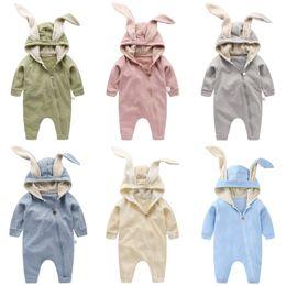 детские комбинезоны Скидка Ребенок уха кролика с капюшоном комбинезон для мальчиков девочки Комбинезон с длинным рукавом спальный мешок Детская одежда Одежда для новорожденных Infant Костюм Outfit