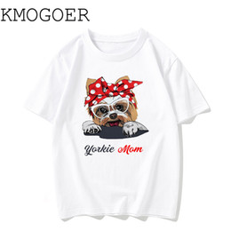 Футболки с хлопком онлайн-Power Yorkie Mom Print T-shirt Short Sleeve Cotton T Shirt Women T-shirts Cute Dog Hatajuku Tshirt Plus Size Vintage Top Female