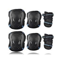 Joelheiras patinagem no gelo on-line-6 pçs / set Protective Gear Cotovelo Protetor de Pulso Joelho Pads para Crianças Homens Mulheres Skate Patinação No Gelo Ciclismo Equitação # 225004