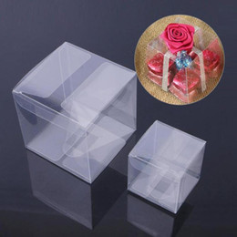 wholesale bread boxes Coupons - 1pcs Transparent Candy Chocolate Storage Deacoration Square Box Wedding Party Decoration Cute Gift Candy Plastic