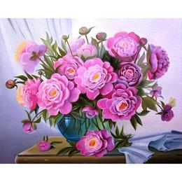 2019 numero di pittura fiore Pittura di tela di Foraway di DIY dal fiore di numero fatto nel trasporto di goccia di sostegno della Cina Trasporto libero numero di pittura fiore economici