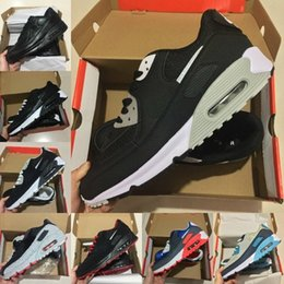 casual walking running shoes Coupons - High Quality 2019 New Air Cushion 90 Casual Running Shoes Men Women Cheap Black White Red 90s Sneakers Classic Air90 Designer Walking Shoes